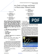 Comprehensive Study on Exergy and Energy Efficiencies of Photovoltaic Thermal System