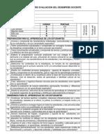 Cuestionario de Auto evaluación Docente 2018