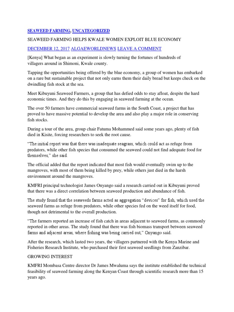 Blu Economy Seaweed Farming | Kenya | Seaweed