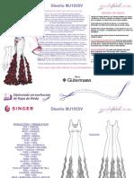 Instrucciones de Corte Del Vestido de Fiesta Con Olanes MJ1055v