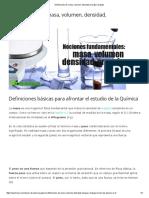 Definiciones De_ Masa, Volumen, Densidad, Energía y Trabajo