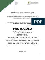 Protocolo Para La Prevencion, Deteccion y Actuacion en Casos de Abuso, Acoso y Maltrato en Las Escuelas Publicas de Educacion Basica