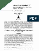 Acción y Representacion en El Niño. La Autorregulación en Una Tarea Motriz