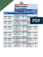 Programacion Torneo Apertura Fecha 2