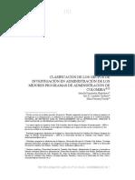 CLASIFICACIÓN DE LOS GRUPOS DE INVESTIGACIÓN EN ADMINISTRACIÓN DE LOS MEJORES PROGRAMAS DE ADMINISTRACIÓN DE COLOMBIA