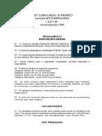 Concurso Mansueto Bernardi 2018 Regulamento
