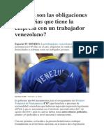 Cuáles Son Las Obligaciones Tributarias Que Tiene La Empresa Con Un Trabajador Venezolano