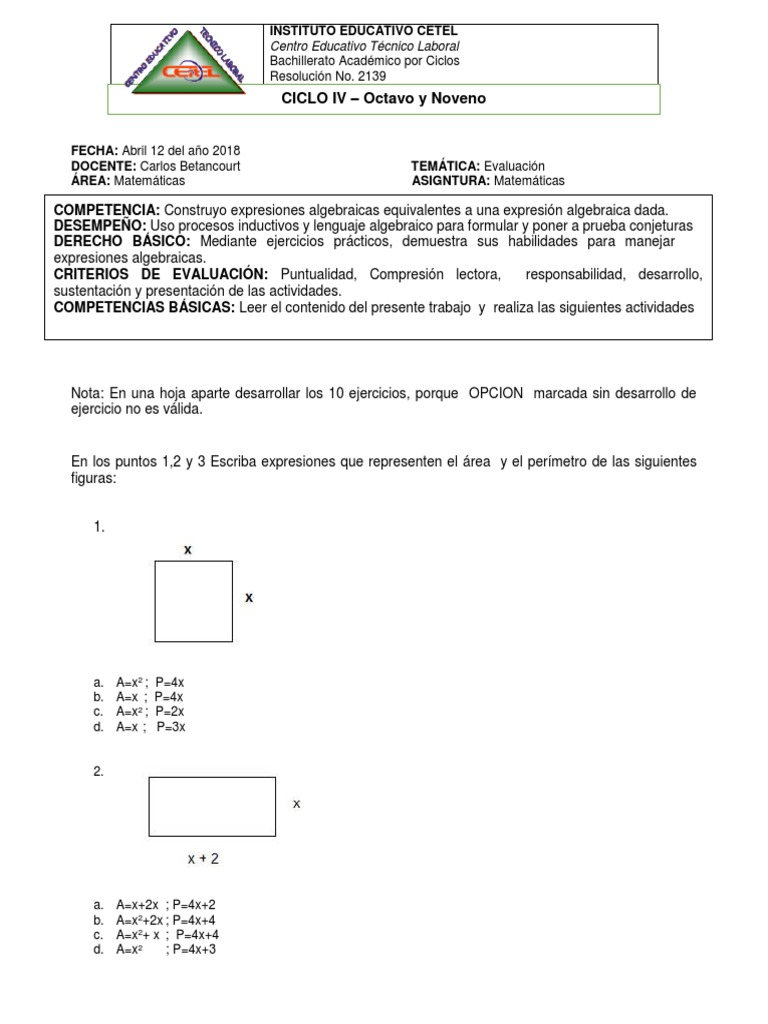 Bonito Pruebas Algebraicas Hoja De Trabajo Inspiración - hojas de ...