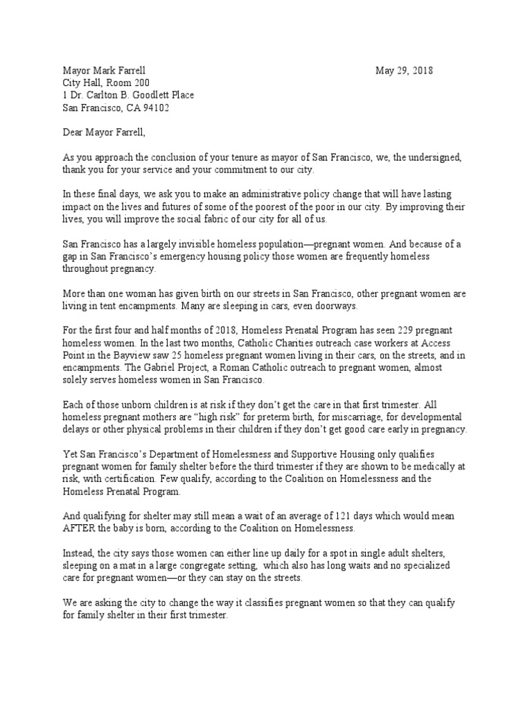 Letter To Mayor Mark Farrell Pregnancy Miscarriage