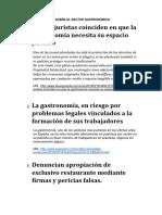 NOTICIAS JURIDICAS SOBRE EL SECTOR GASTRONÓMICO