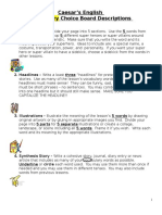 Choice Board Rubric Vocabulary