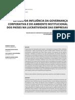 ESTUDO DA INFLUÊNCIA DA GOVERNANÇA CORPORATIVA E DO AMBIENTE INSTITUCIONAL DOS PAÍSES NA LUCRATIVIDADE DAS EMPRESAS