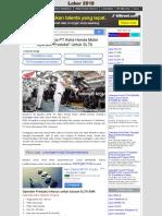 Lowongan Kerja PT Astra Honda Motor  Operator Produksi Untuk SLTA