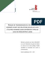 Risque de Transmission Du VIH Chez Les HSH Dans Différents Types de Lieux de Rencontre à Liège