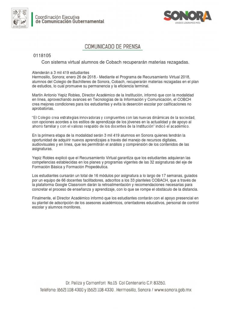 26 01 18 Con Sistema Virtual Alumnos De Cobach Recuperarán