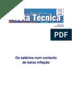 Salarios num contexto de baixa inflacao (nota tecnica DIEESE)