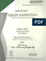 Pembahasan Soal UN Matematika SMA IPA 2018 Paket 1