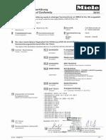 Miele Vacuum Cleaner SGAAO CE Conformity Declaration