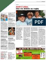 André Lebas, une vie dédiée au rugby