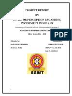 Investor Preception Regarding Investment in Shares