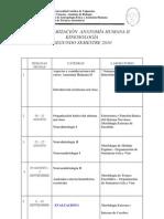 Calendarizacion Anatomia Humana II 2010