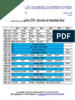 Calendário Desportivo Columbofilia 2018
