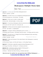 William Shakespeare Multiple Choice Quiz With Answers