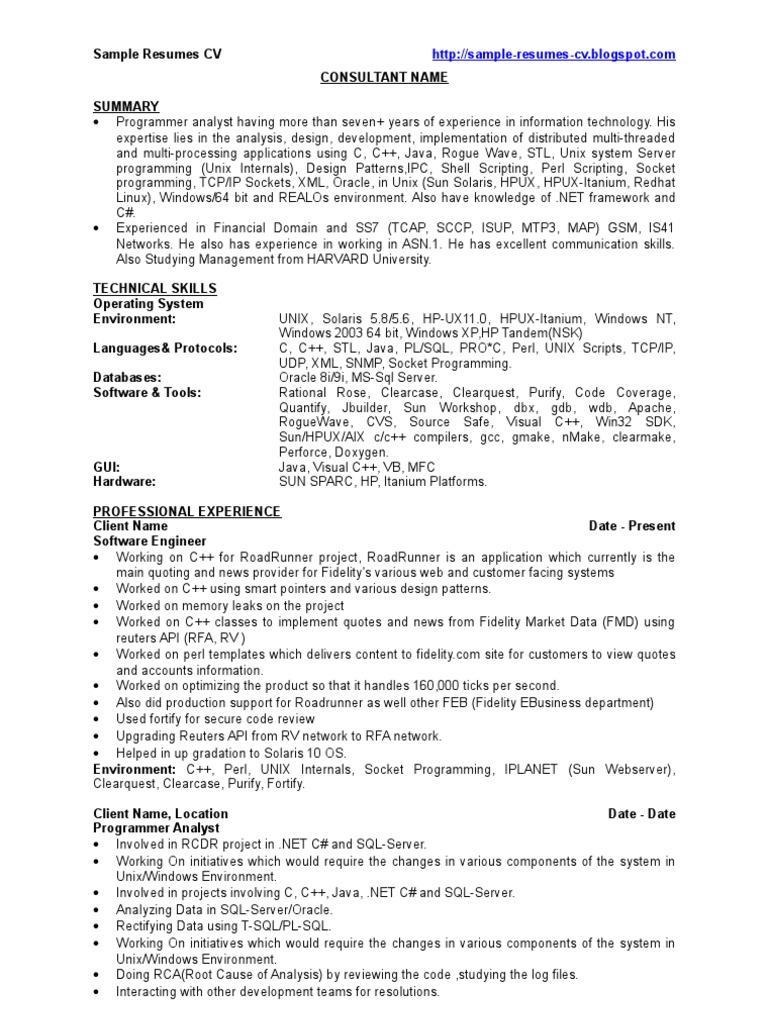 C Developer Sample Resumes CV Unix – Sample CV