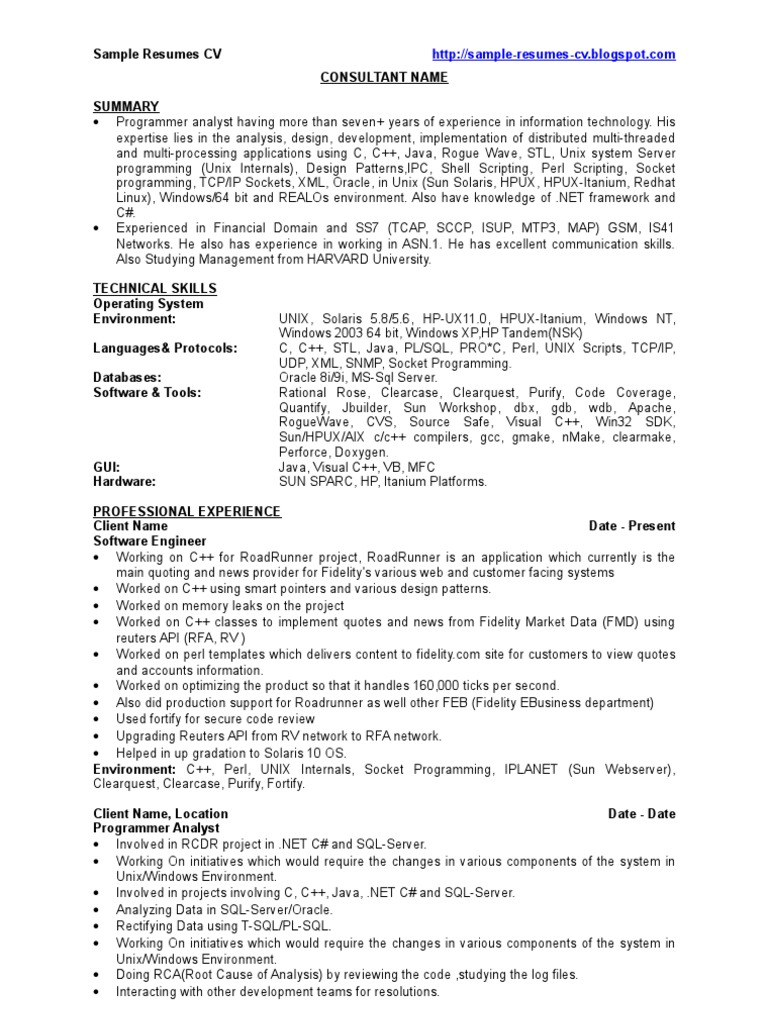 resume Resume C c developer sample resumes cv unix programming language