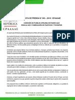 COMISIÓN DE PUEBLOS APRUEBA DICTAMEN QUE REGULA USO Y FABRICACIÓN DE PLÁSTICOS Y TECNOPOR