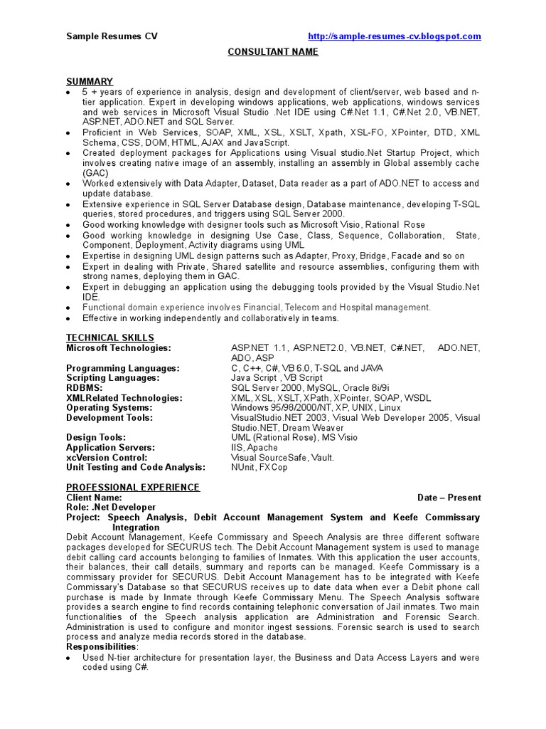 Resume Sample Resume For Net Developer With 2 Year Experience dot net developer sample resume cv microsoft sql server visual studio