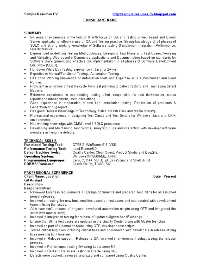resume Resume For Testing qa sample resume cv software bug development