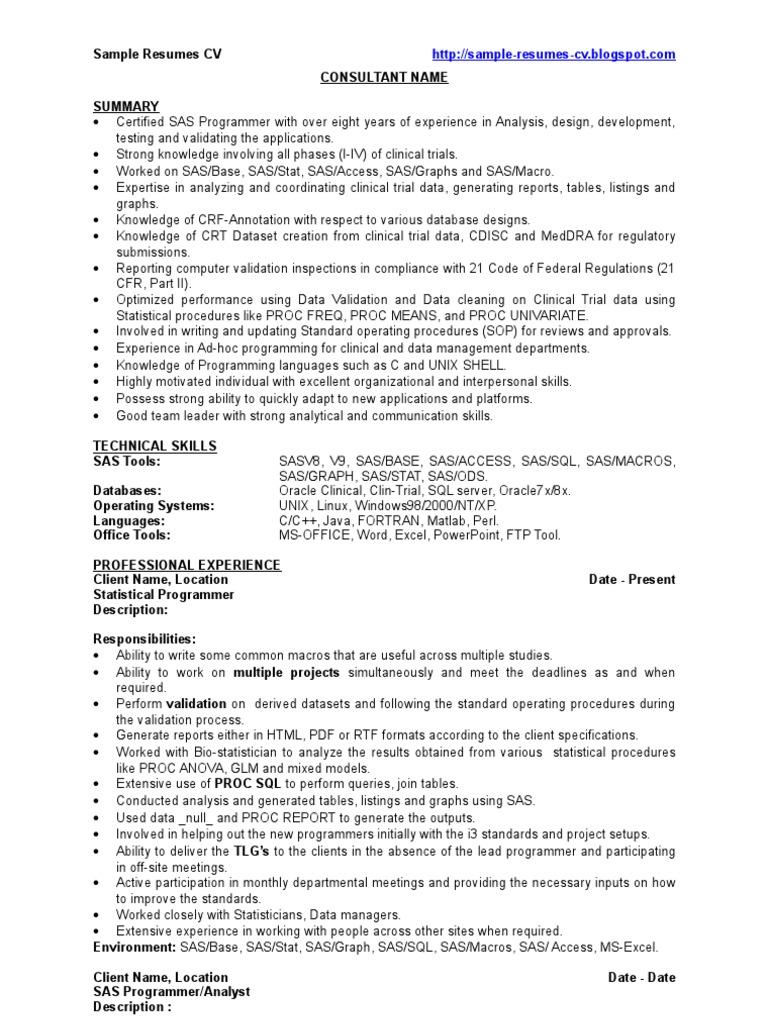 SAS Developer   Sample Resume   CV | Sas (Software) | Clinical Trial