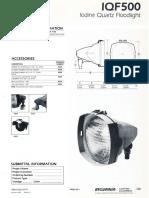 Sylvania IQF500 Floodlight Spec Sheet 1-87