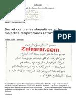 Secret Contre Les Sheyatines Et Les Maladies Respiratoires (Athmes) – Zal Asrar