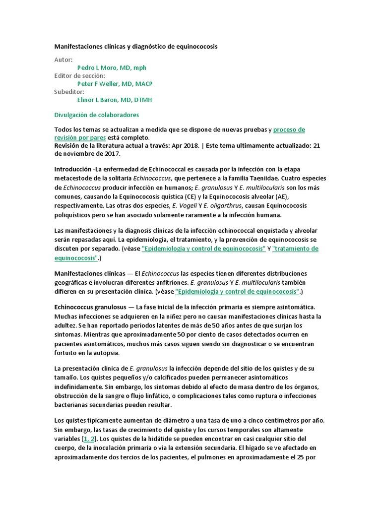 Echinococcus granulosus diagnóstico de laboratorio de diabetes
