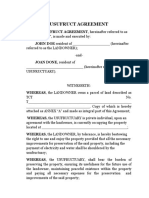Usufruct Agreement Sample Form