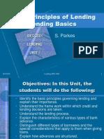 Lending - Unit 1 -The Principles of Lending and Lending Basics