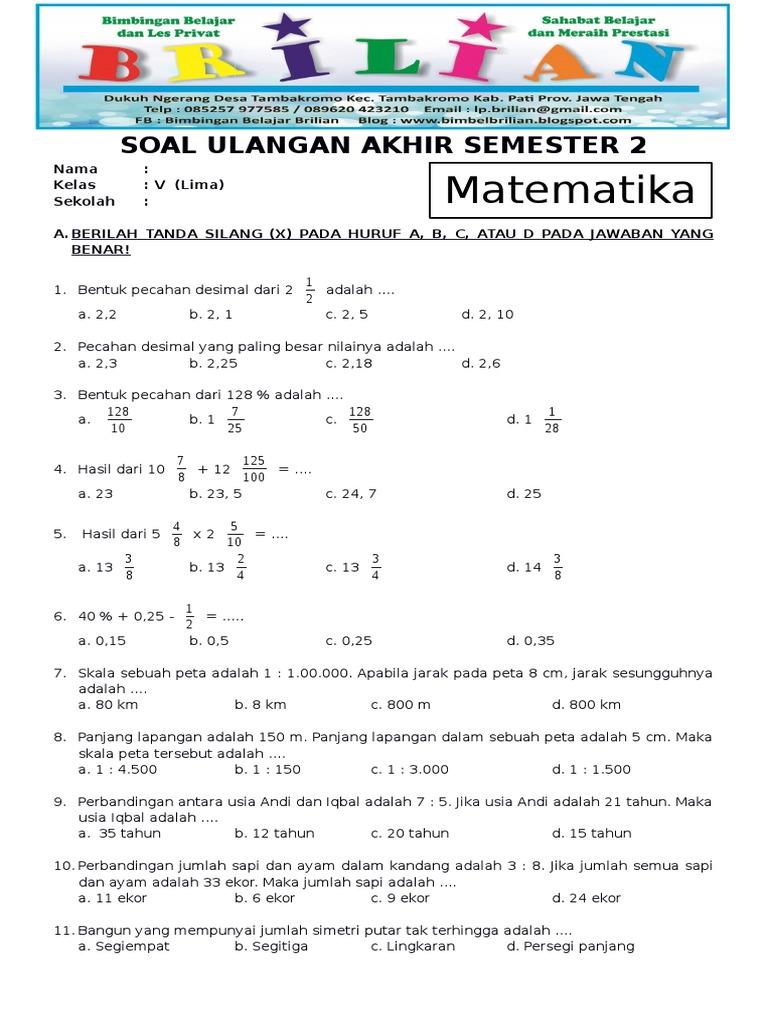 Soal Matematika Dan Jawaban Kelas 5 Kunci Dunia