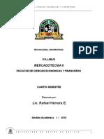 Syllabus Genérico Mercadotecnia II - Gestión I - 2018
