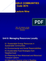 Sustainable Communities Lecture Nine