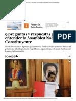9 Preguntas y Respuestas Para Entender La Asamblea Nacional Constituyente