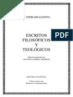 (Clásicos Para Una Biblioteca Contemporánea) Gotthold Ephraim Lessing-Escritos Filosóficos y Teológicos  -Editora Nacional (1982).pdf