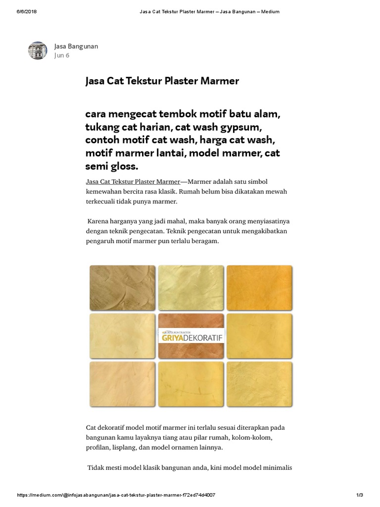 Jasa Cat Tekstur Plaster Marmer Jasa Bangunan Medium