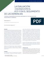 El Rol de La Evaluación Neuropsicológica en El Diagnóstico y en El Seguimiento de Las Demencias