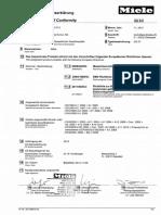 EU- Declaration of Conformity Miele Dishwasher GG07
