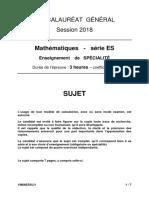 bac ES 2018 Liban Maths spécialité