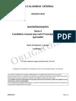 Bac S 2018 Liban Maths Obligatoire