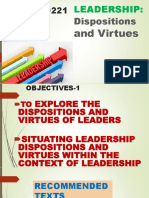 DLD 221 LEADERSHIP Dispositions and Virtues