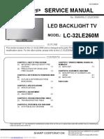 SHARP LED TV lc32le260m SERVICE MANUAL